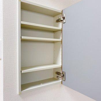 キッチン横には調味料に丁度いい収納付き。