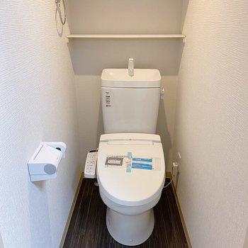ゆったりめのトイレ。上には2段収納があるので、日用品はこちらに収めても。