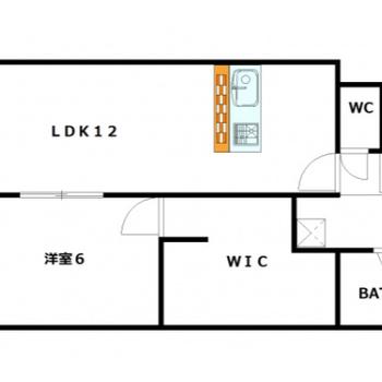 12帖のリビングと6帖の洋室。2人入居も可能ですよ!