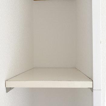 扉の前に、コンパクトな収納スペースがあります。