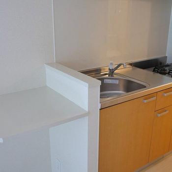 棚と広めのシンクが便利そう。 2口ガスコンロ付。(※写真は別棟2階の同間取り別部屋のものです)