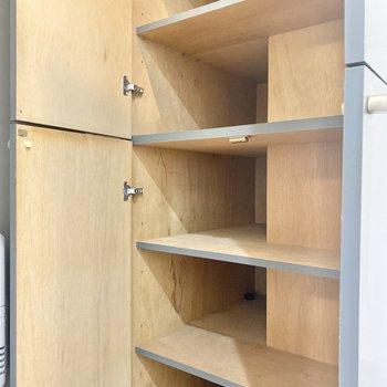 上下に扉が分かれている靴箱。1段には3足ずつ置けそうです。