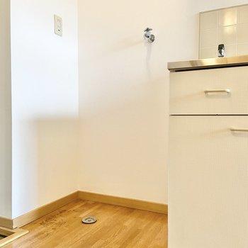 キッチンの隣に、洗濯機が置けますね。