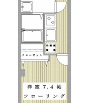 シンプルな1Kのお部屋。バス・トイレ別が嬉しい。