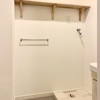 お次は脱衣所へ。こちらの木製棚には洗剤や着替えを飾るように置いておけそう。