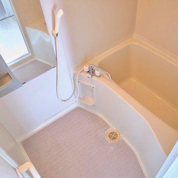 浴室はちょっとだけ大きめ。(※写真は3階の反転間取り別部屋のものです)