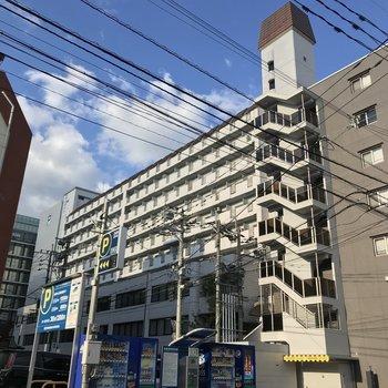 どっしり大きなマンション。入口は2階にのぼったところにあります。
