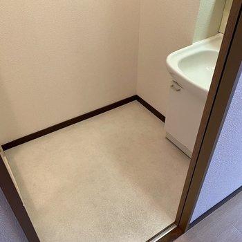 脱衣所もゆったり。洗面台横に小さめのラックが置けそうですね。