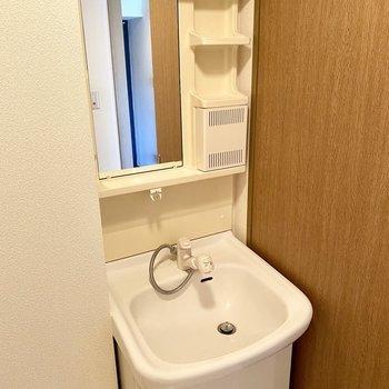 独立洗面台はシャワー水栓で使いやすそうです。