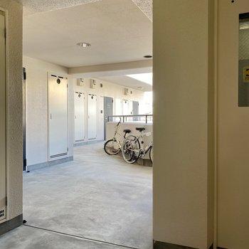 共用廊下はゆったり。一番奥の角部屋です。