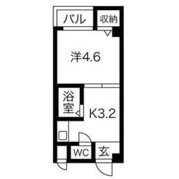 シンプルな1Kのお部屋。キッチンが広め!