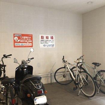 自転車も雨に濡れることありません!