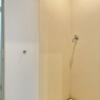 手前の扉をopen!洗濯機置場でした!上部に簡易収納をプラスしてもいいね!(※写真は清掃前のものです)