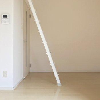 モニターホン付きで女性も安心。ロフトに登ってみましょう(※写真と文章は8階の同間取り別部屋、清掃前のものです)