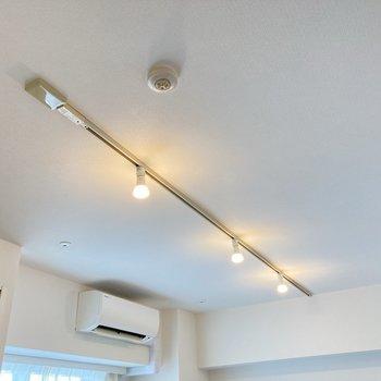 視線を上に上げるとライティングレールが。お好みの照明でお部屋を彩ってみてくださいね。