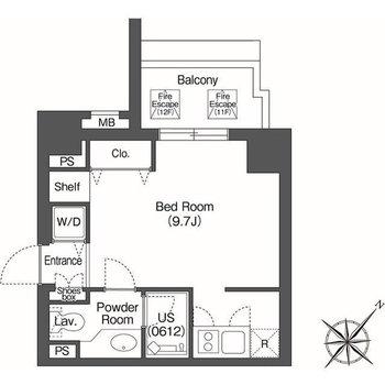 ゆったりワンルームのお部屋です。