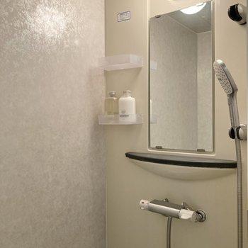 そしてシャワールーム。シャワーヘッドも大きいので使いやすそうです。