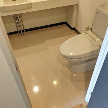 脱衣所の中にトイレ。