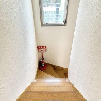 階段にも窓があるので電気なしでも明るいのが嬉しいですね!