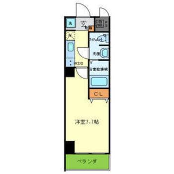 ひとり暮らしにぜひ。※4階別室の反転間取りですが、今回のお部屋は柱の出っ張りがあります