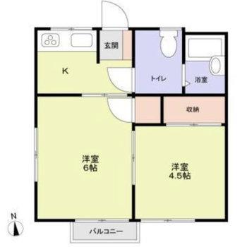 間取りは居室同士が繋がる2Kタイプ。