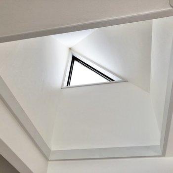 見上げてみると、三角の小窓を発見。