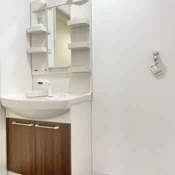 洗面台はちょうど良いサイズ感。隣に洗濯機を置けます。(※写真は2階の同間取り別部屋のものです)
