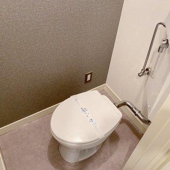 トイレはシンプル。トイレマットがあるとヒヤッとなりませんよ。
