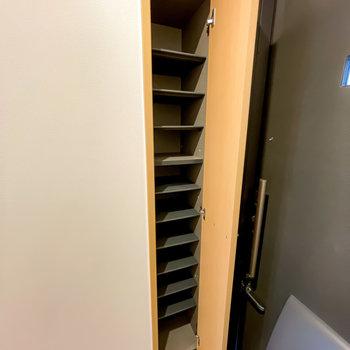 靴箱は壁の中に。少しコンパクトですが、10足ほどは入りそうです。(※写真は1階の同間取り別部屋のお部屋です)