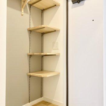 こちらの可動棚に靴が置けますよ。カバンやお出かけグッズを置いてもいいですね。