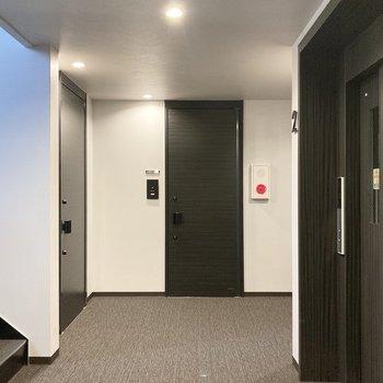 ホテルのロビーのような共用廊下。