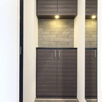 向かいは玄関。仕上げの身支度に便利なミラー付きです。