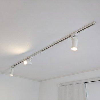 天井にはライティングレール。モビールなどを吊るすのも楽しそう。