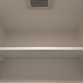 トイレ上には棚があります。トイレットペーパーなどを置けます。