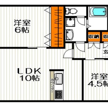 2人暮らしにちょうどいい2LDKのお部屋です。