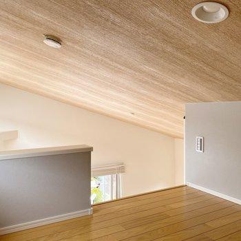 【ロフト】天井の斜め具合、ここから見るとよくわかります。