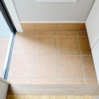 【1階】玄関は一般的な広さ。スタメン1,2足おいて、あとは靴箱へ。