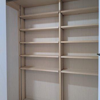 クローゼットの中は棚があるので小物を収納することもできますよ。