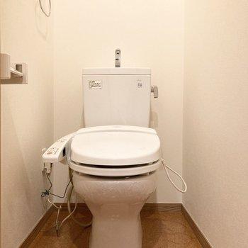続いて廊下に出てすぐにあるトイレ。シャワー機能付き。