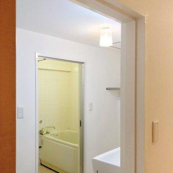 脱衣所には扉がないので、突っ張り棒などでカーテンをつけたいです。(※写真は5階の反転間取り別部屋のものです)