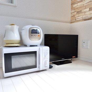 テレビ、電子レンジ、電気ポット、炊飯器もあるんです!※不要な家電は相談可能・入居中の故障については保証いたしかねます
