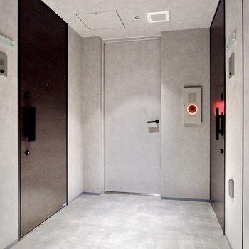 玄関前共用部。ホテルライクなデザインですね。
