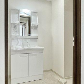 洗面脱衣所。洗面台がちょっと大きめです。