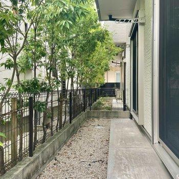 木が植えられ、白い石が敷き詰められ、なんだか日本庭園のような雰囲気のバルコニー。