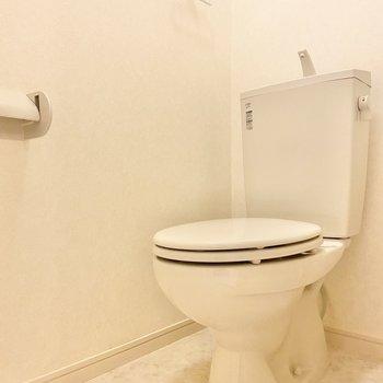 トイレは洗面台の左側に。