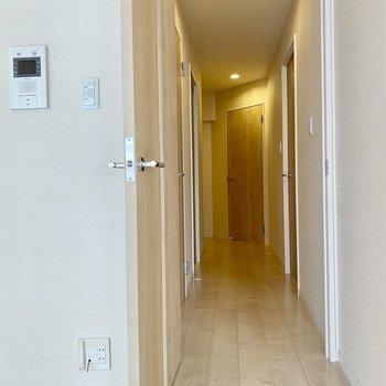 廊下への扉横にモニターホン◎廊下右に2部屋。左にサニタリーです。