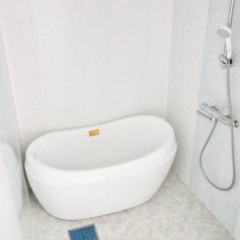 お風呂場がありました。丸みがある浴槽がかわいいな〜。