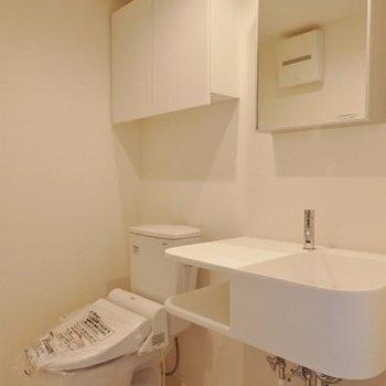 トイレと洗面台、脱衣所は一緒(※写真は2階の同間取り別部屋のものです)