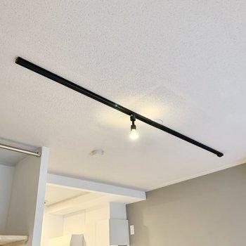 天井のライティングレールにはお好みのライトを。