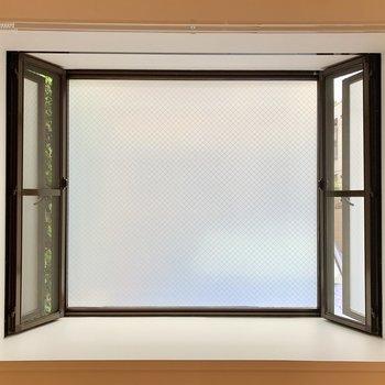 居室の窓はすりガラスになっていて、視線もあまり気になりません。